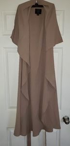 Iris tan long vest jacket with belt